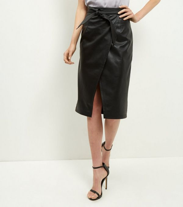 Black Leather-Look Tie Waist Wrap Front Midi Skirt