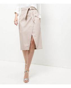 Shell Pink Leather-Look Tie Waist Wrap Skirt | New Look