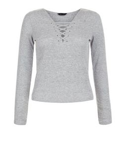 Grey Lace Up Long Sleeve Top  | New Look