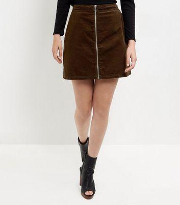 Dark Green Zip Front A-Line Skirt