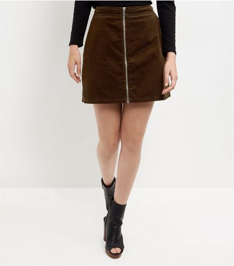 Dark Green Zip Front A-Line Skirt | New Look