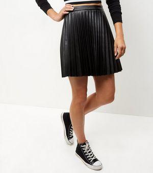 black leather look pleated mini skirt