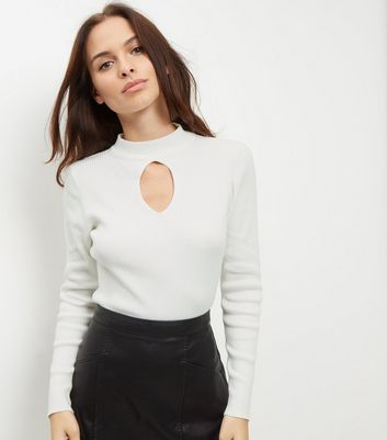 White Keyhole Front Funnel Neck Top