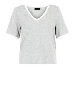 Grey Contrast Trim V Neck T-Shirt  | New Look