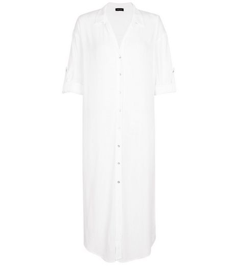 White Longline Long Sleeve Beach Shirt | New Look