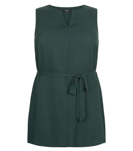 Curves Dark Green Notch Neck Belted Tunic  | New Look