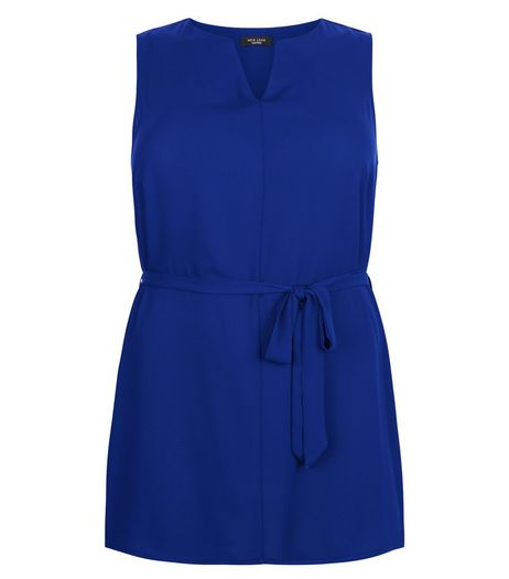 Curves Blue Notch Neck Belted Tunic  | New Look
