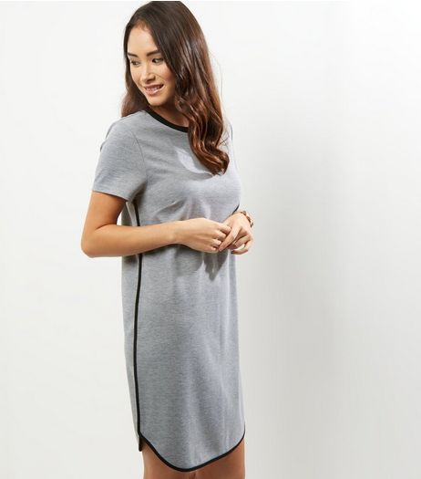 Grey Contrast Trim T-Shirt Dress | New Look