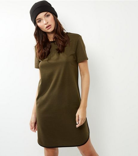 Khaki Longline T-Shirt Dress | New Look