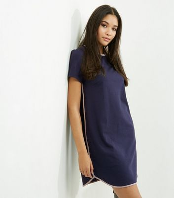 Product photo of Navy contrast trim longline tshirt dress