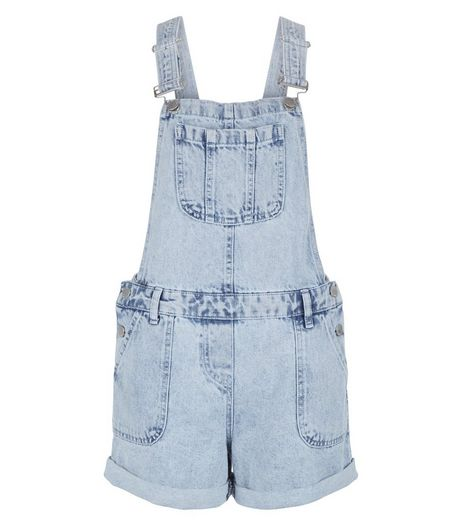 Light Blue Denim Acid Wash Short Dungarees | New Look
