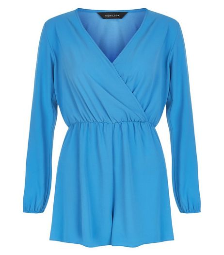 Blue Wrap Long Sleeve Playsuit | New Look