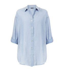Blue Chambray Beach Shirt  | New Look