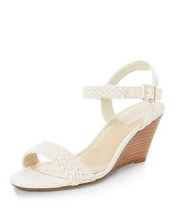 Cream Canvas Plaited Strap Wedge Sandals  | New Look
