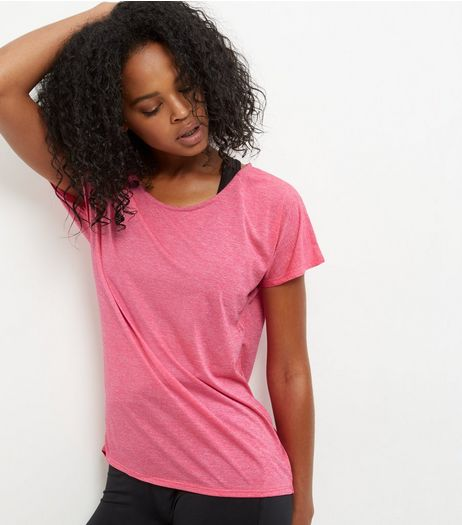 Pink Marl Lightweight Sports T-Shirt  | New Look
