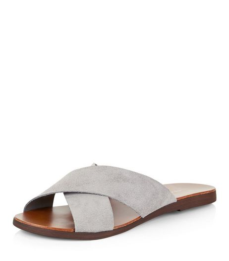 Wide Fit Grey Suede Cross Strap Mules  | New Look