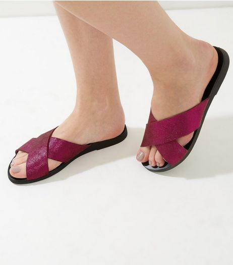 Wide Fit Pink Suede Metallic Cross Strap Mules | New Look