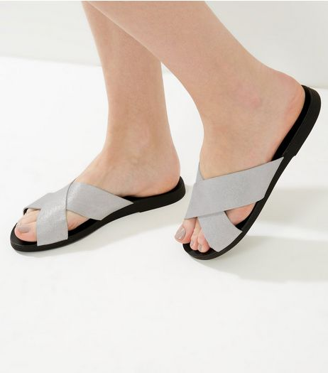 Wide Fit Silver Suede Metallic Cross Strap Mules | New Look