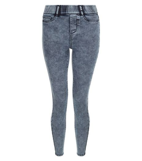 Blue Acid Wash Jeggings  | New Look