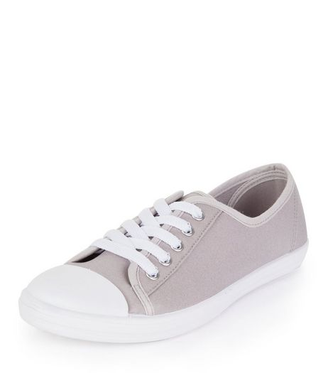Teens Grey Lace Up Plimsolls | New Look