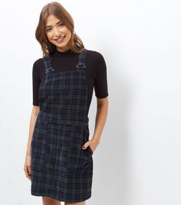 Product photo of Blue cord check pinafore dress