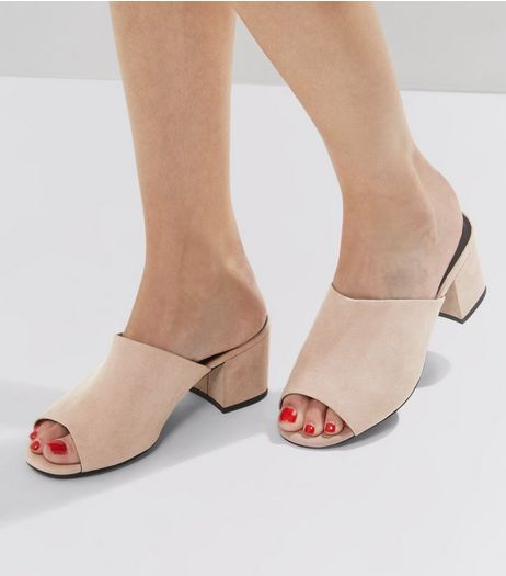 Wide Fit Pink Peep Toe Block Heel Mules | New Look
