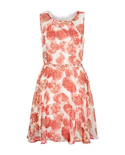 Mela Cream Rose Print Belted Dress | New Look