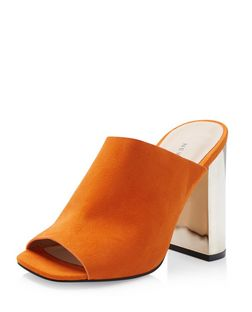 Orange Suedette Peep Toe Metal Block Heel Mules  | New Look