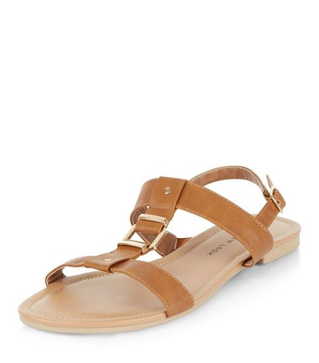 Teens Tan Metal Trim Sandals | New Look