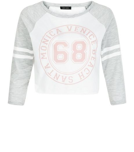 Grey 68 Baseball Raglan Crop Top | New Look