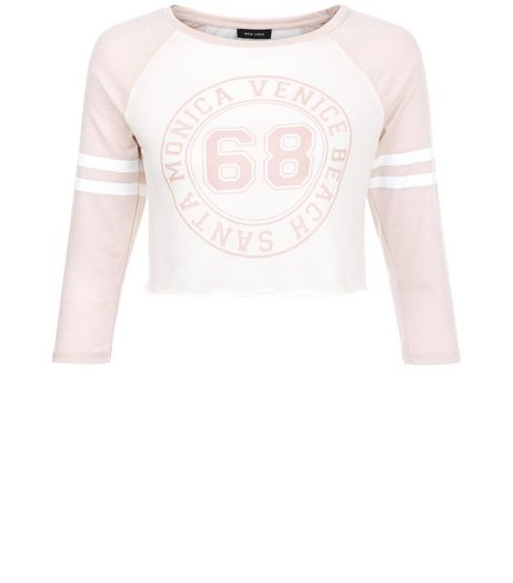 Shell Pink 68 Baseball Raglan Crop Top | New Look