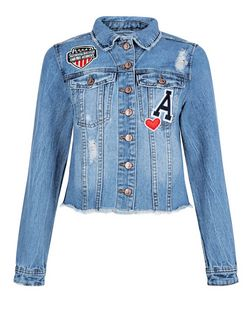 Blue Patchwork Badge Fray Hem Denim Jacket  | New Look