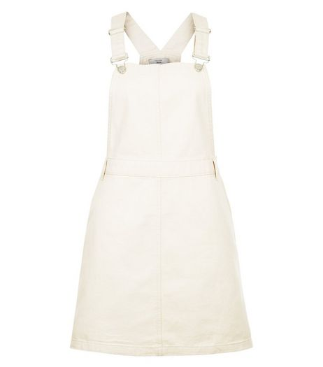 Cream Cotton Dungaree Pinafore Dress  | New Look
