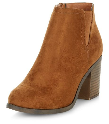 Tan Suedette Block Heel Western Boots  | New Look