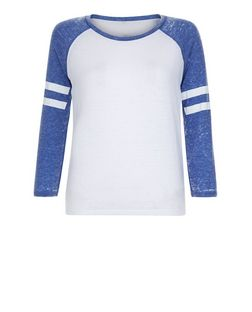 Teens Blue Stripe Sleeve Raglan T-Shirt | New Look
