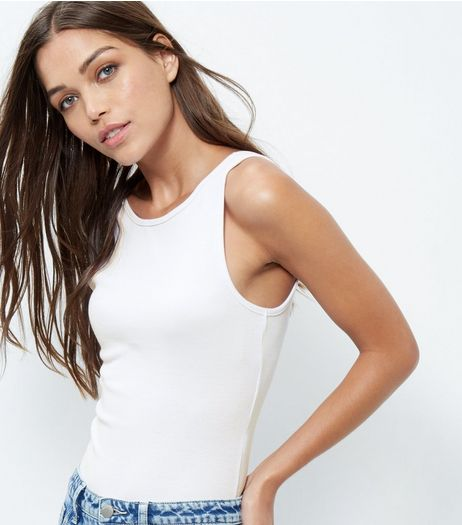 White Ribbed Sleeveless Bodysuit  | New Look
