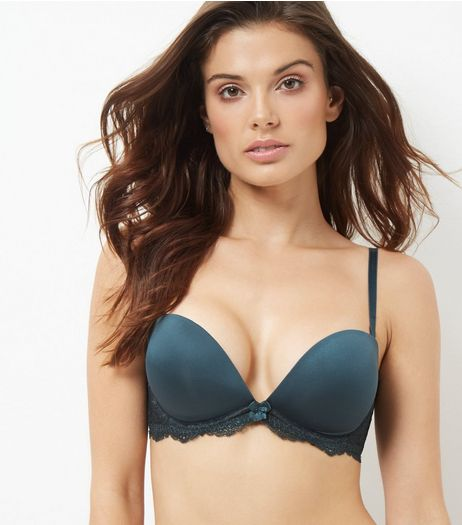 Dark Green Lace Trim Plunge Strapless Bra | New Look