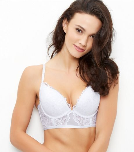 White Lace Longline Push Up Bra | New Look
