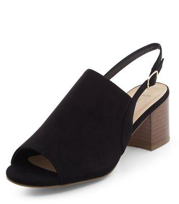 Sandalo  donna Wide Fit Black Suedette Sling Back Block Heels