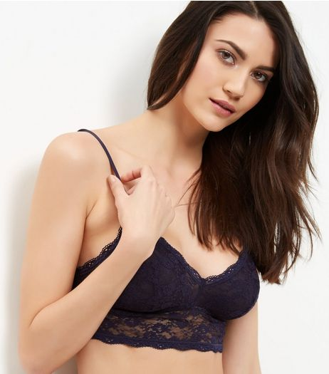 Navy Lace Longline Bralet | New Look
