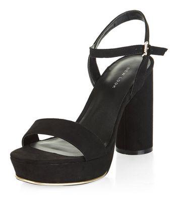 Sandalo  donna Black Suedette Ankle Strap Platform Block Heels