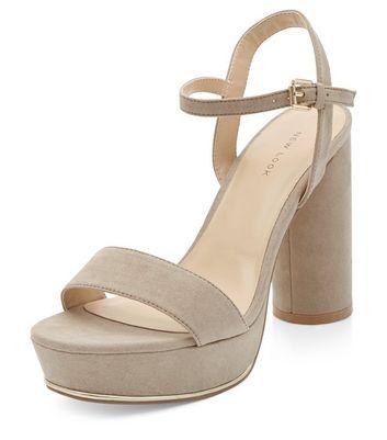 Sandalo  donna Light Brown Suedette Ankle Strap Platform Block Heels