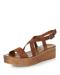 Tan Leather Strappy Flatform Sandals  | New Look