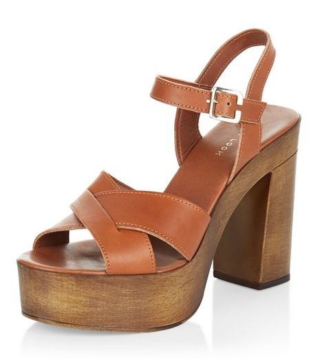 Tan Leather Cross Strap Wooden Platform Heels  | New Look