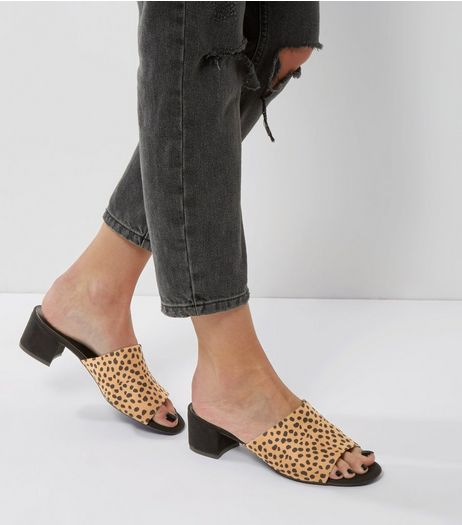 Stone Animal Print Suedette Mules | New Look