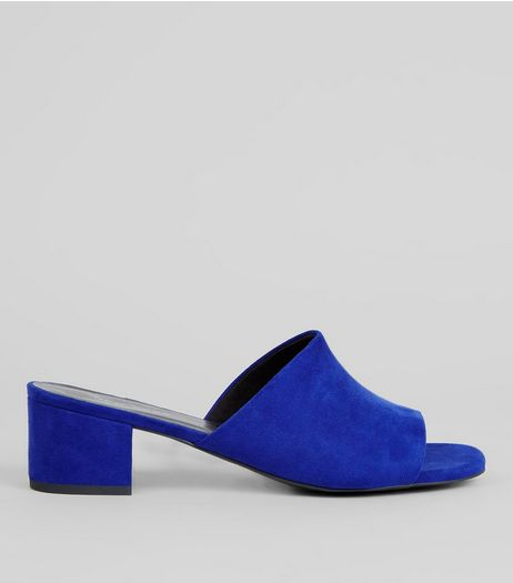 Blue Suedette Heeled Mules | New Look