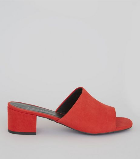 Red Suedette Heeled Mules | New Look