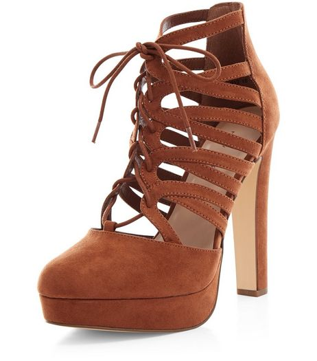 Tan Suedette Ghillie Platform Heels  | New Look