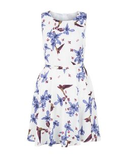 Mela White Floral Bird Print Skater Dress | New Look