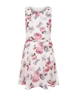 Mela Pink Floral Print Tie Back Skater Dress | New Look